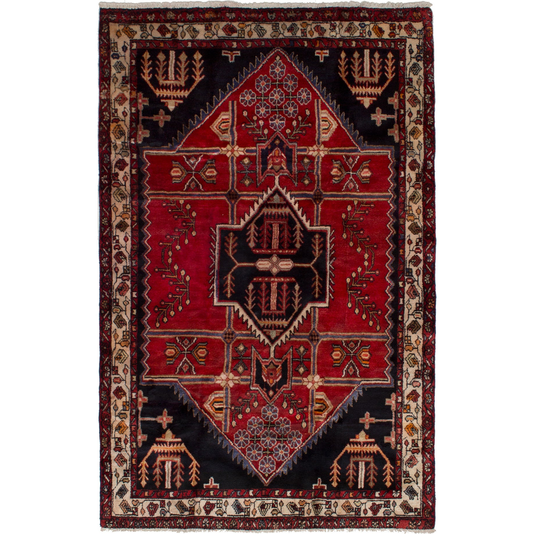 eCarpetGallery  Hand-knotted Hamadan Red Wool Rug (45 x 70) (Red Rug (4 x 7))