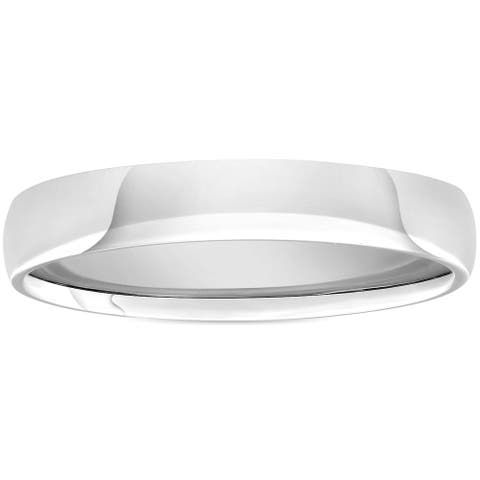 Pompeii3 950 Platinum Plain High Polished Ring 4mm dome Comfort Fit Wedding Band - White