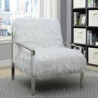 Furniture of America Delta Contemporary Faux Fur Accent Chair