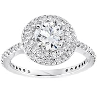 Bliss 14K White Gold 1 3/4 ct TDW Double Halo Diamond Clarity Enhanced Round Brilliant Cut Engagement Ring (G/SI)