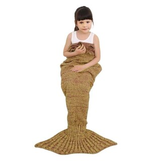 Knitted or Fleece Mermaid Tail Blanket - Child Size (Option: Gold)