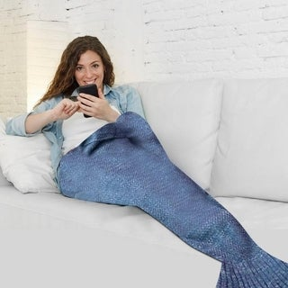 Knitted Mermaid Tail Blanket - Teen/Adult Size
