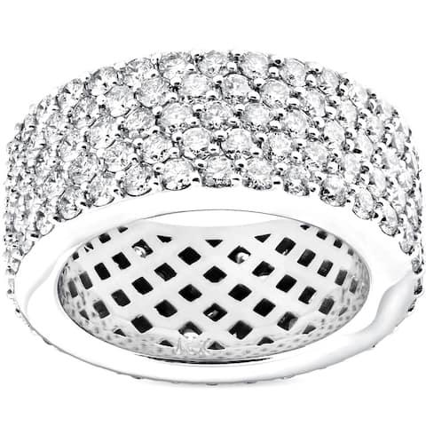 Pompeii3 14k White Gold 5 ct TDW Diamond Multi Row Wide 10MM Pave Eternity Ring (H-I/VS1-VS2)