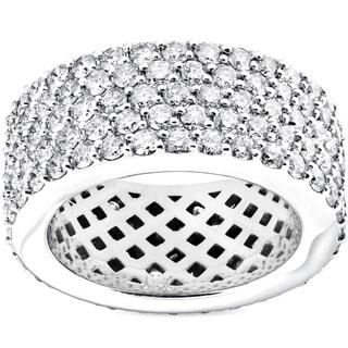 Link to Pompeii3 14k White Gold 5 ct TDW Diamond Multi Row Wide 10MM Pave Eternity Ring (H-I/VS1-VS2) Similar Items in Wedding Rings