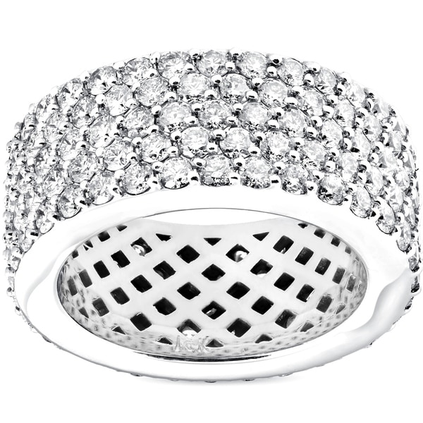 Shop Bliss 14k White Gold 5 Ct Tdw Diamond Multi Row Wide