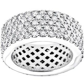 Bliss 14k White Gold 5 ct TDW Diamond Multi Row Wide 10MM Pave Eternity Ring (H-I/VS1-VS2)