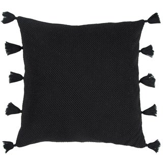 Rizzy Home Black Mesh Solid Cotton 22 x 22 Decorative Throw Pillow (As Is Item)