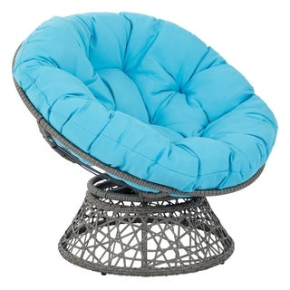 Papasan Padded Lounge Chair with Woven Wicker Frame