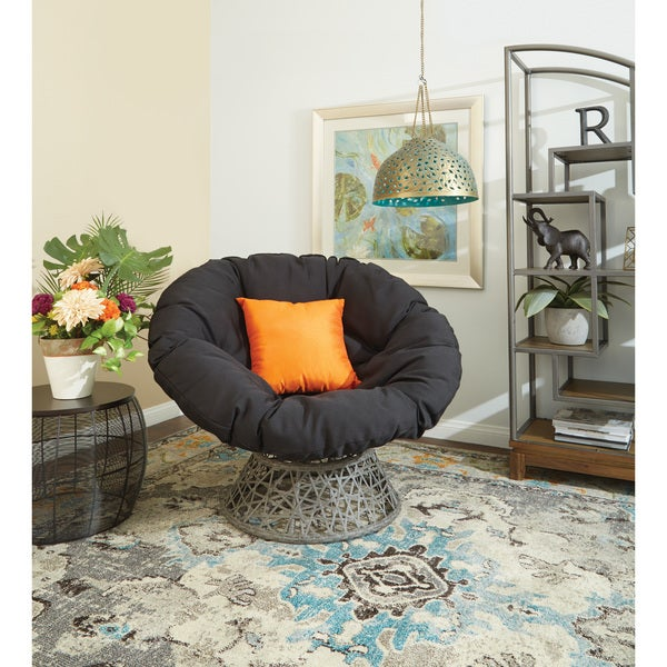 Papasan Chair With Woven Wicker Over Steel Frame