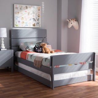 Mission Wood Twin Size Bed with Trundle by Baxton Studio