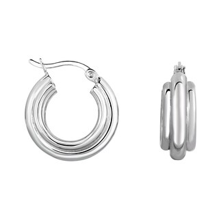Sterling Silver 2.0X15mm Diamond Cut Weaved Style Hoop with Rhodium Finish and Hinged Clasp