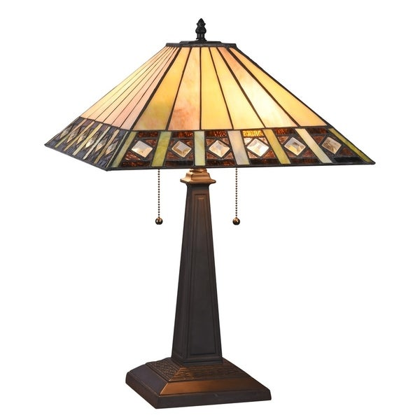 Chloe Tiffany Style Mission Design 2-light Blackish Bronze Table Lamp
