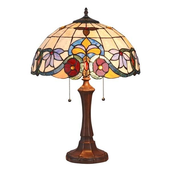 Chloe Tiffany Style Victorian Design 2-light Dark Bronze Table Lamp