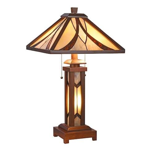 Tiffany Style 2+1-light Double Lit Dark Walnut Table Lamp