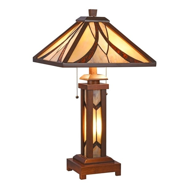 Chloe Tiffany Style 2+1-light Double Lit Dark Walnut Table Lamp