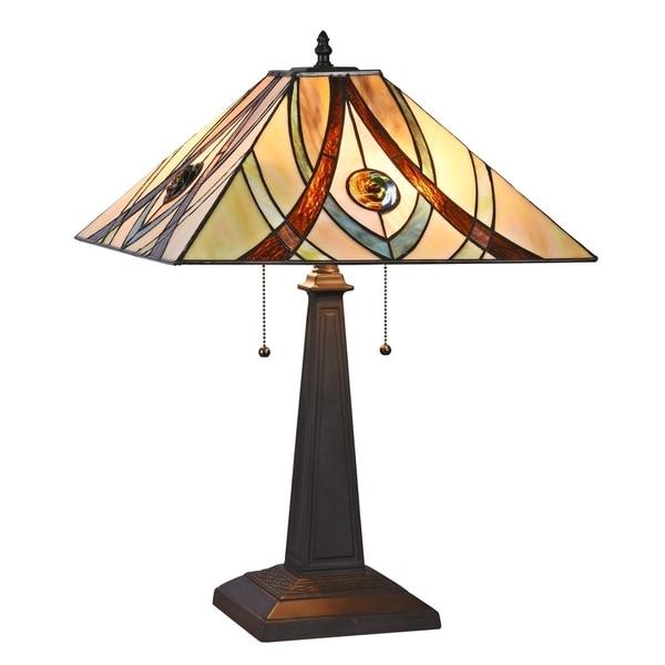 Chloe Tiffany Style 2-light Blackish Bronze Table Lamp