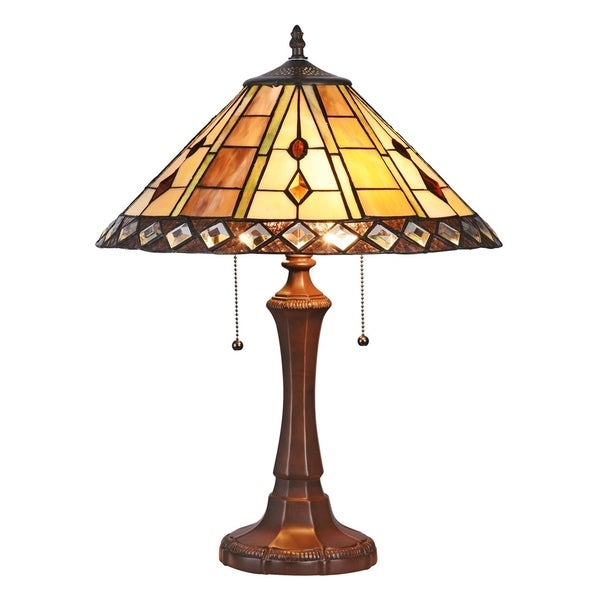 Chloe Tiffany Style Mission Design 2-light Dark Bronze Table Lamp