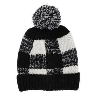 LA77 Black and White Checkered Knit Beanie