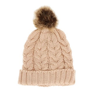 LA77 Braided Knit Fold Over Beanie with Faux Fur Pom Pom