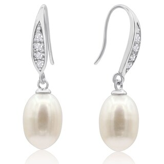 Freshwater Cultured Pearl and Crystal Drop Earrings In Sterling Silver - White