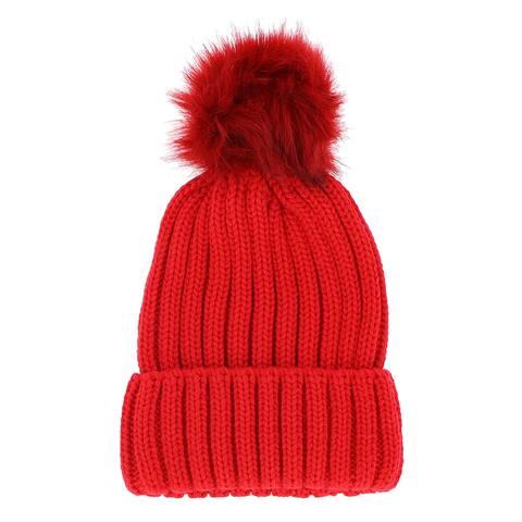 LA77 Colored Faux Fur Knit Pom Pom Beanie