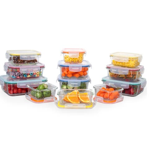 24 pcs. Glass Meal Prep Storage Container Set W/ Snap Locking Lid - Meal Prep Friendly Glass Container Sets