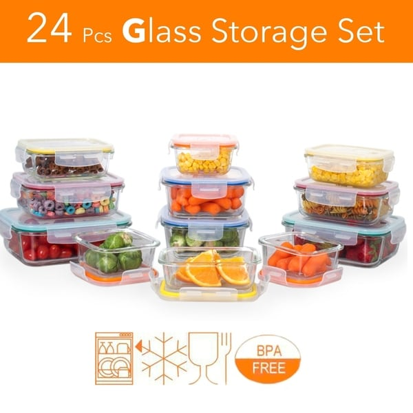 Delicieux Glass Meal Prep Storage Container Set W/ Snap Locking Lid