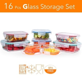Healthy Meal Prep 16 pcs. Glass Meal Prep Storage Container Set W/ Snap Locking Lid