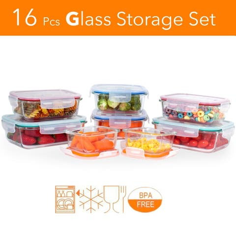 16 pcs. Glass Meal Prep Storage Container Set W/ Snap Locking Lid