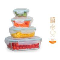 8 pcs. Glass Meal Prep Storage Container Set W/ Snap Locking Lid
