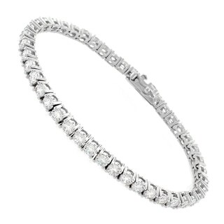 "Sterling Silver 3mm Brilliant-Cut Clear Round CZ White Tennis Bracelet 6.5"", 7"", 8"""