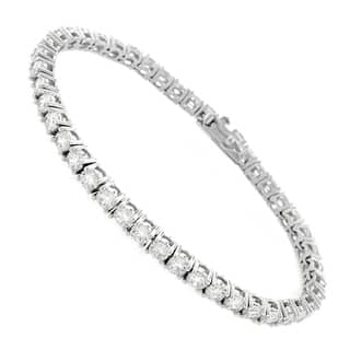 Sterling Silver 3mm Brilliant Cut Clear Round Cz White Tennis Bracelet 6 5 7