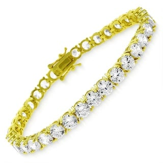 """Sterling Silver 5mm Brilliant-Cut Clear Round CZ Yellow Gold Plated Tennis Bracelet 6.5"""", 7"""", 8"""""""