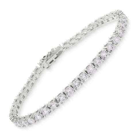 "Sterling Silver 3.5mm Tennis Chain Crystal Clear CZ Stone Iced 925 White Bracelet 6.5"", 7"", 8"", Men & Women, In Style Designz"
