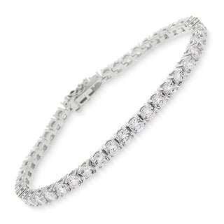 "Sterling Silver 3.5mm Brilliant-Cut Clear Round CZ White Tennis Bracelet 6.5"", 7"", 8"""