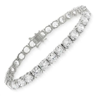 "Sterling Silver 5.5mm Brilliant-Cut Clear Round CZ White Tennis Bracelet 6.5"", 7"", 8"", 8.5"""