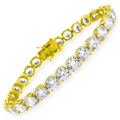 "Sterling Silver 6mm Crystal Clear CZ Stone Iced 925 Yellow Gold Tennis Bracelet 6.5"", 7"", 8"", Men & Women, In Style Designz"