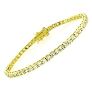 """Sterling Silver 3mm Brilliant-Cut Clear Round CZ Yellow Gold Plated Tennis Bracelet 6.5"""", 7"""", 8"""""""
