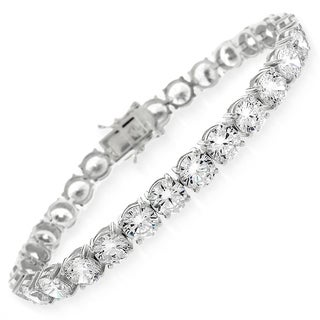 "Sterling Silver 6mm Brilliant-Cut Clear Round CZ White Tennis Bracelet 6.5"", 7"", 8"" (2 options available)"