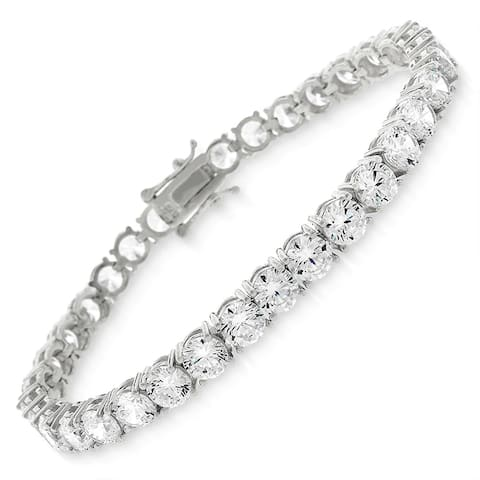 "Sterling Silver 5mm Tennis Chain Crystal Clear CZ Stone Iced 925 White Bracelet 6.5"", 7"", 8"", Men & Women, In Style Designz"