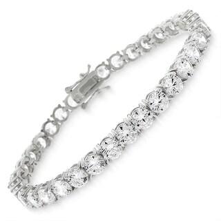 Sterling Silver 5mm Brilliant-Cut Clear Round CZ White Tennis Bracelet