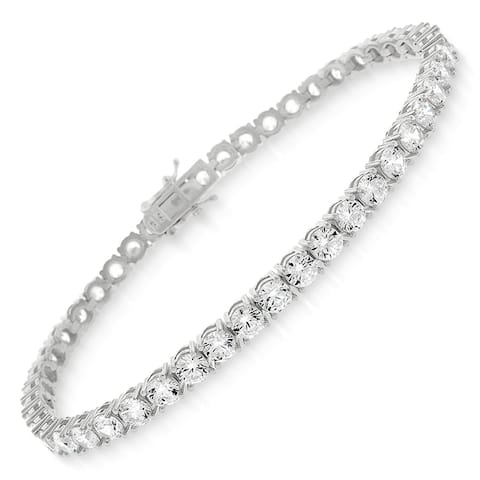 "Sterling Silver 4mm Tennis Chain Crystal Clear CZ Stone Iced 925 White Bracelet 6.5"", 7"", 8"", Men & Women, In Style Designz"