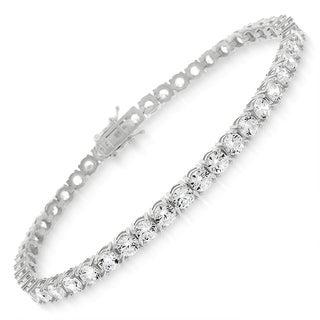 "Sterling Silver 4mm Brilliant-Cut Clear Round CZ White Tennis Bracelet 6.5"", 7"", 8"""