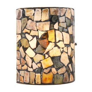 Chloe 1-light Black/Stone Glass Wall Sconce