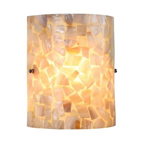 1-light Black/Sea Shell Glass Wall Sconce