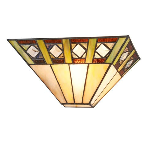 Tiffany Style Mission Design 1-light Black/Stained Glass Wall Sconce
