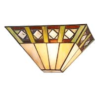 Chloe Tiffany Style Mission Design 1-light Black/Stained Glass Wall Sconce