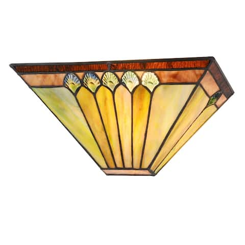 Tiffany Style 1-light Black/Stained Glass Wall Sconce