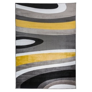 Abstract Contemporary Modern Yellow Area Rug - 2' X 3'