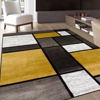 Contemporary Modern Boxes Yellow Area Rug - 9' x 12'